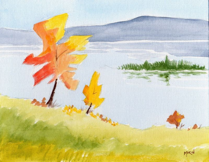 lake in the fall - acrylic painting - phil morin