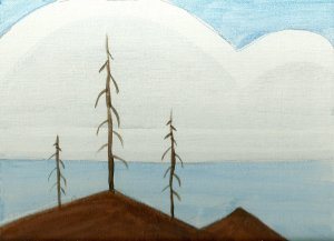 burned hills -acrylic painting - phil morin