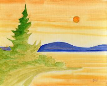 golden lake - acrylic painting - phil morin