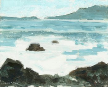rocky shore- acrylic painting - phil morin