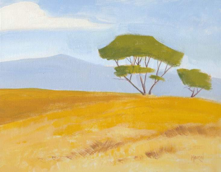 trees in the valley - acrylic painting- phil morin
