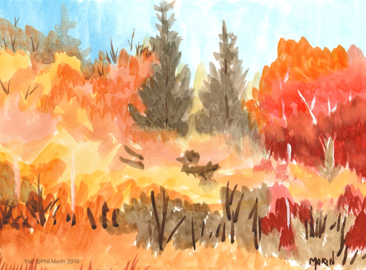 Fall - gouache painting - phil morin